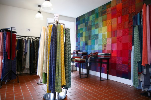 Colourful scarves and creations inside the McKernan Woollen Mills colourful mill shop, Tuamgraney.