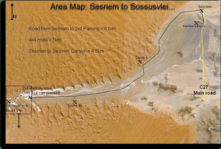 Mapa de Sesriem a Sossusvlei, Parque Namib-Naukluft. Fuente: visitingnamibia.com
