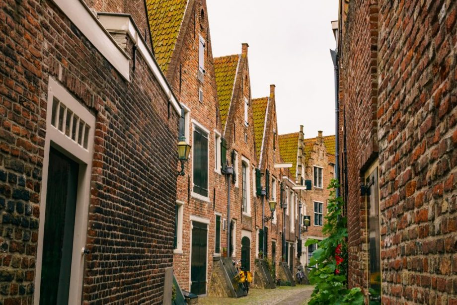 Middelburg, The Netherlands: One of Middelburg's most beautiful and idyllic streets with typical Dutch canal houses