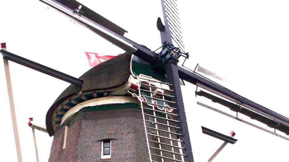 Windmills in the Dutch city of Alkmaar, Noord- Holland, The Netherlands