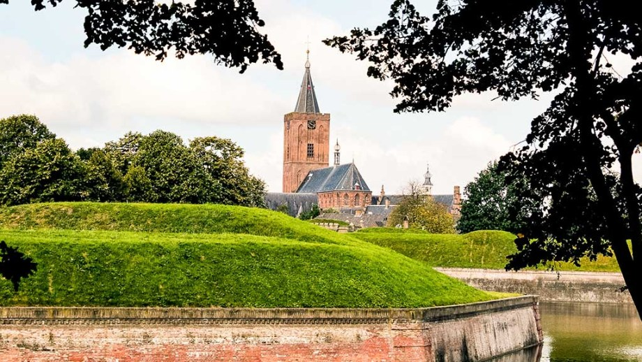 A view on the fortifications and main city in the bastion fort town of Naarden, The Netherlands