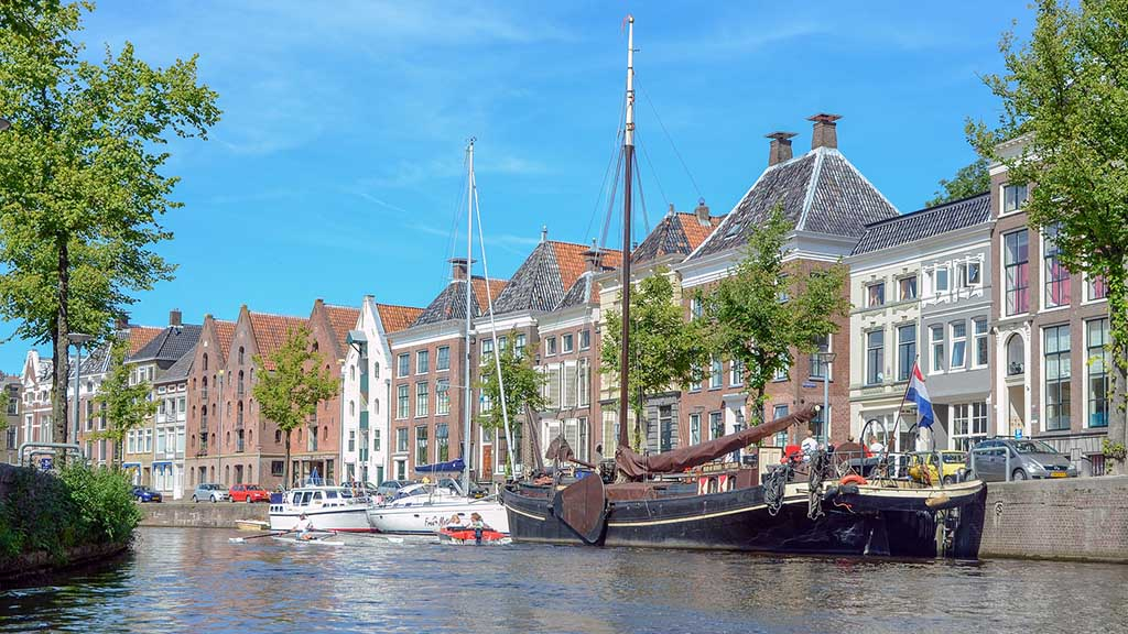 view on a canal in the Dutch city of Groningen and canal houses