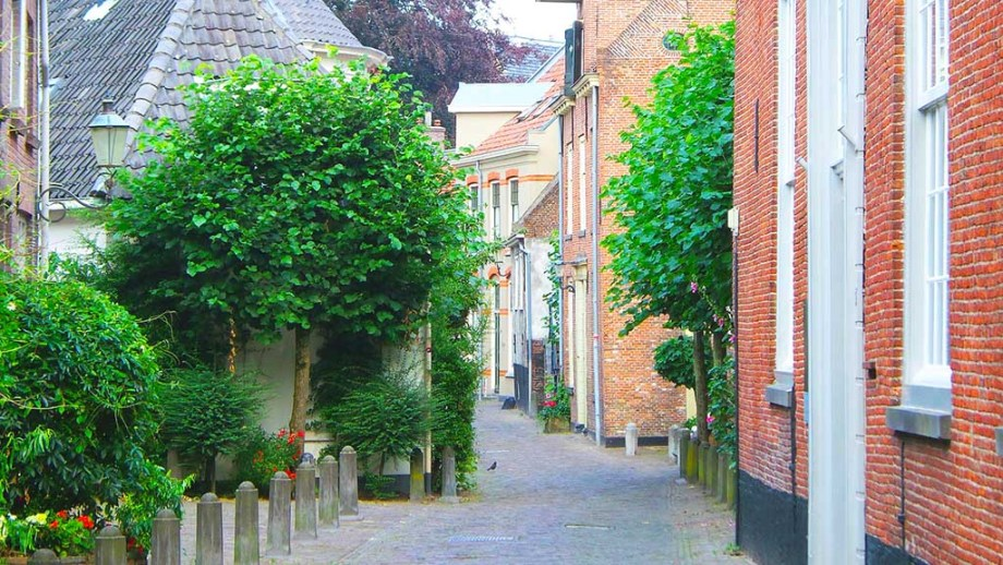 a view on the cobblestoned streets in the historic city of Amersfoort, The Netherlands