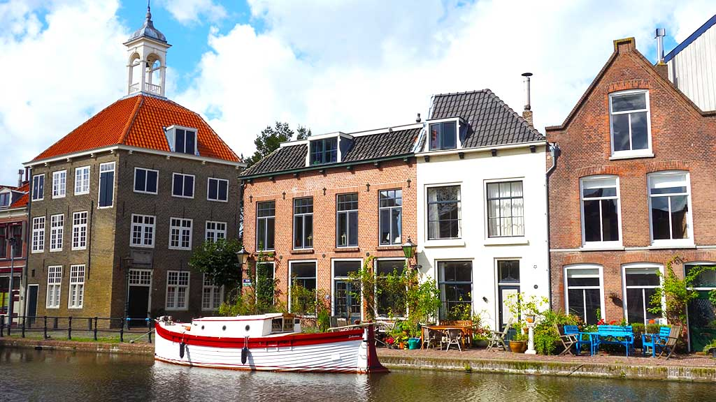 A view on a canal and canal houses in the city of Schiedam, The Netherlands
