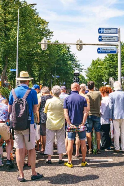 People are watching the finishing of the participants of the Nijmegen march in The Netherlands at Via Gladiola