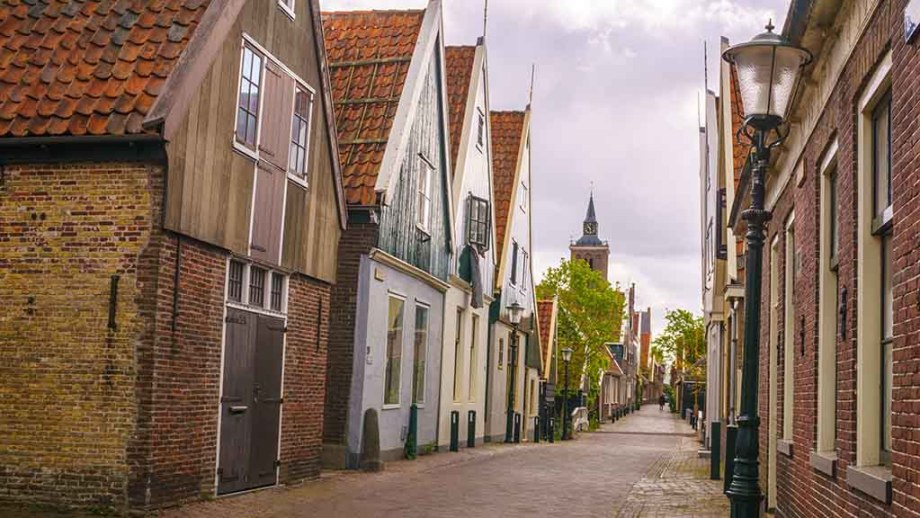 One of the most important streets of De Rijp. You have canal houses on both sides of the street and see the Grote Kerk (main important church) of De Rijp in the far distance surrounded with trees