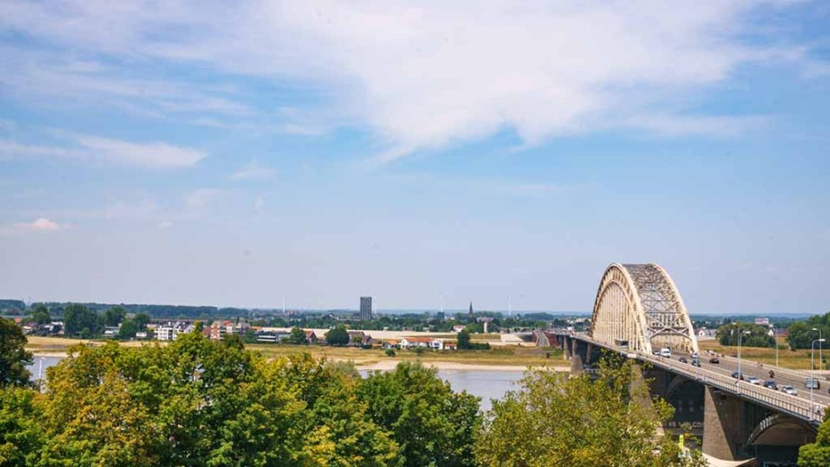 One of the main bridges and best views of Nijmegen The Netherlands over the Waal river