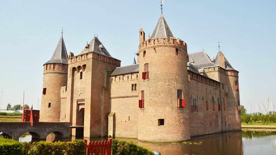 The Muiderslot Castle in the small Dutch town of Muiden, Noord-Holland, The Netherlands. It's one of The Netherlands most famous castles nearby amsterdam.