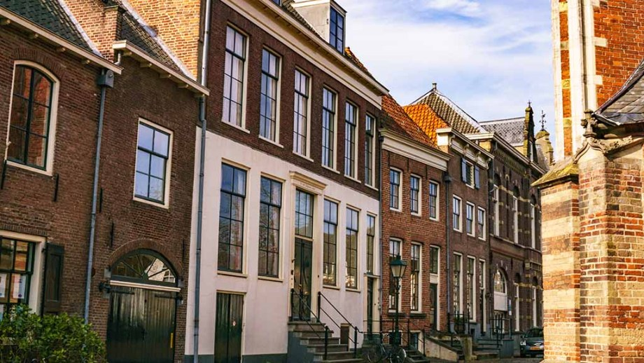 Old traditional Dutch houses in the city of Zutphen: Center of The Netherlands