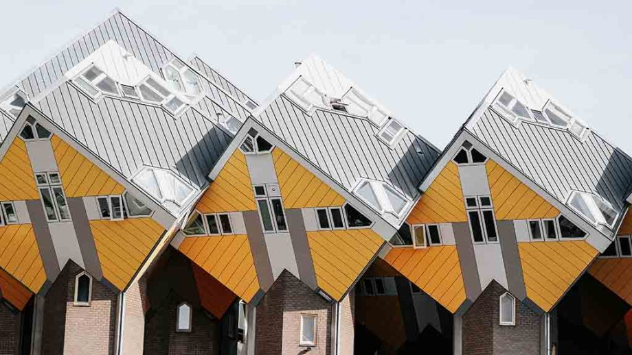 3 of the 38 yellow cube houses in Rotterdam, The Netherlands.
