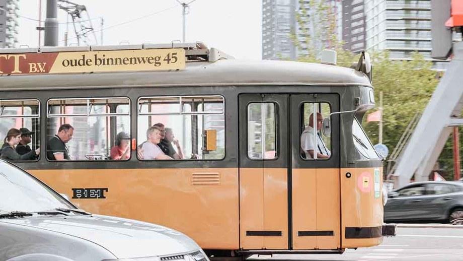 Tram through port city of Rotterdam