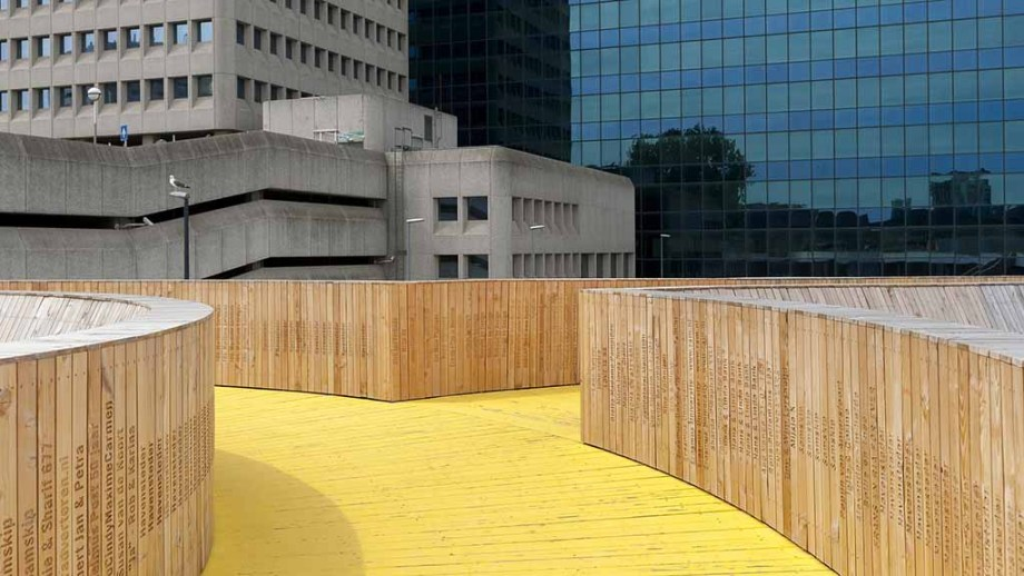 Hofbogen, Rotterdam, Zuid-Holland, The Netherlands: One of Rotterdams most popular instagram and street art places that exists out of yellow painted floors and stairs