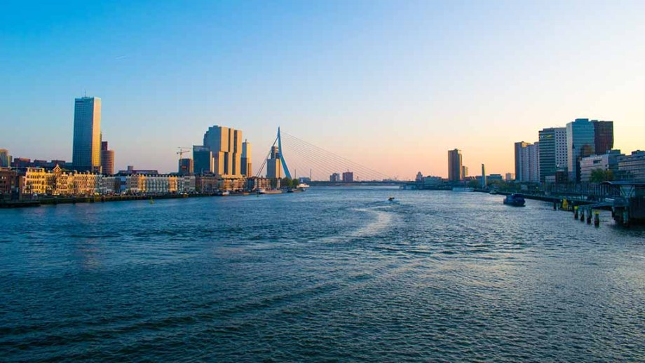 The skyline of the Dutch port city of Rotterdam, with a view on the Meuse river and the Erasmus bridge in the middle.