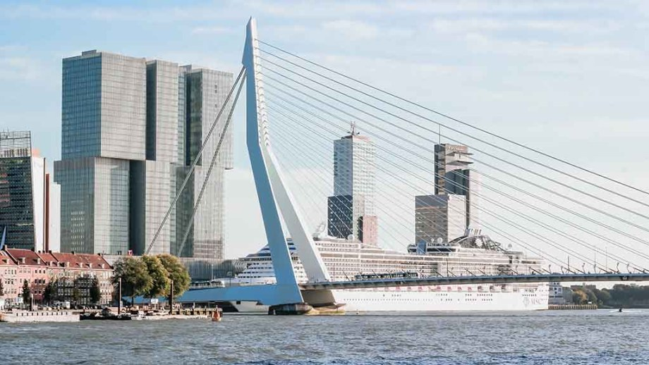 Rotterdam Erasmusbridge and the Meuse river flowing below.