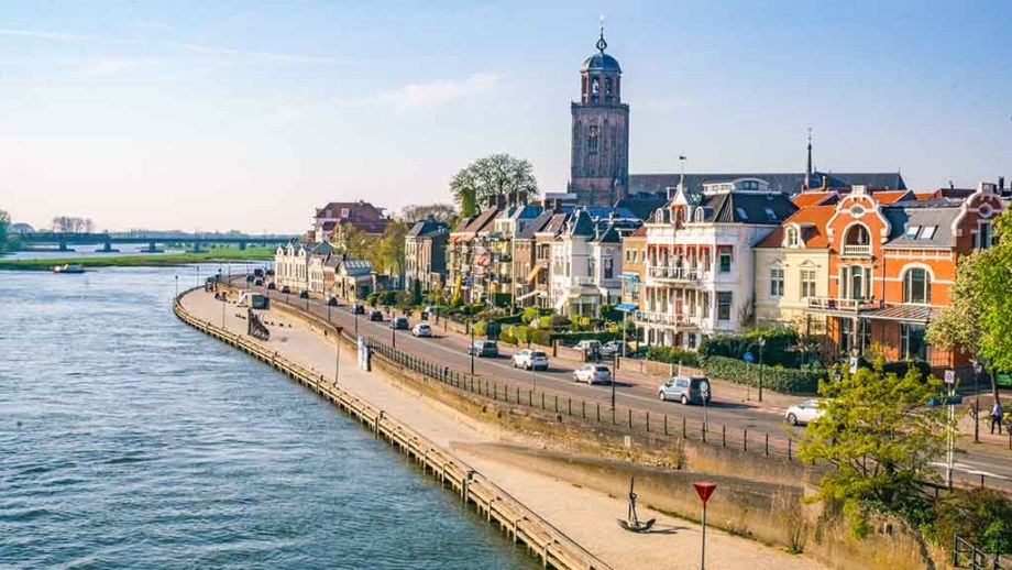 View of Deventer from the Wilhelminabrug, bridge, in province of Overijssel, The Netherlands