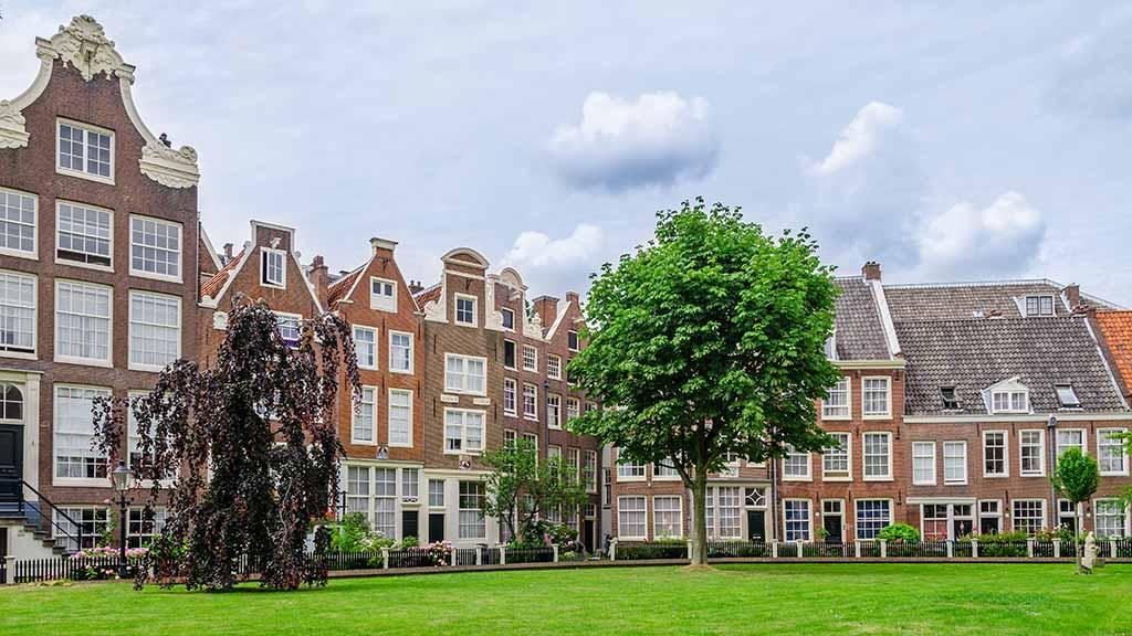 Old patio of Begijnhof in Amsterdam, The Netherlands