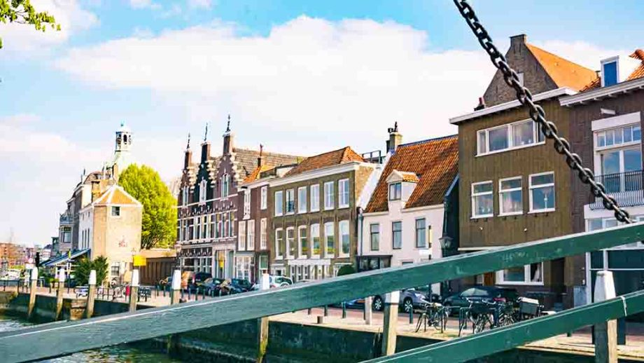 View on the city centre and harbour in the town of Dordrecht, Zuid- Holland, The Netherlands