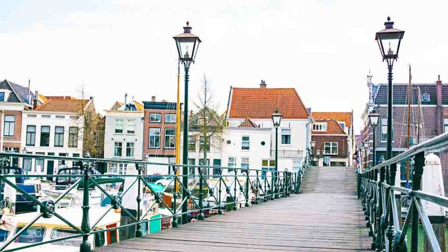 A bridge in the city centre in the town of Dordrecht, Zuid- Holland, The Netherlands