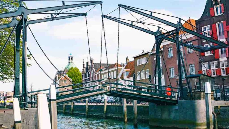 Canal houses and old bridge in the city centre of the town of Dordrecht, Zuid- Holland, The Netherlands