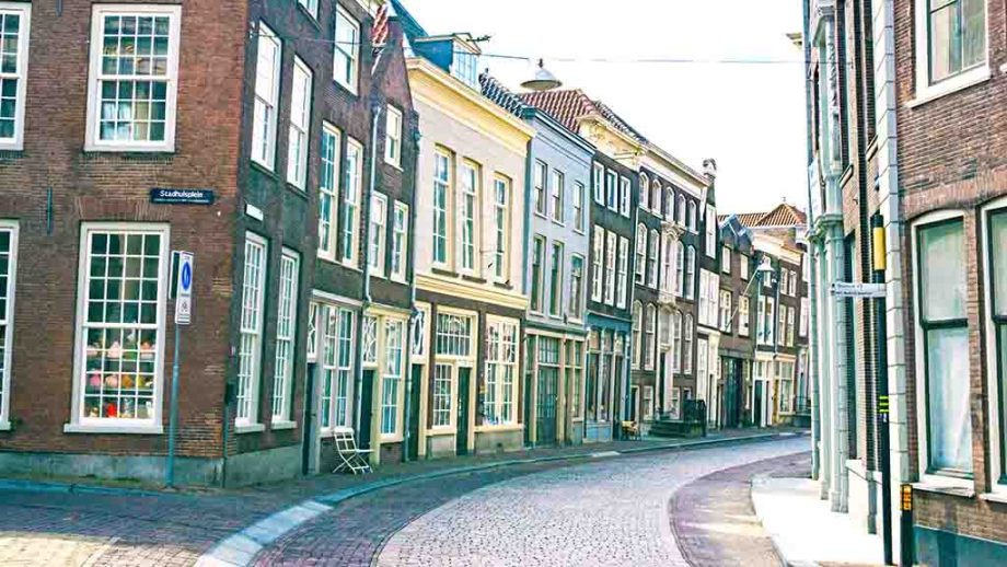 Most beautiful and picturesque streets in the town of Dordrecht, Zuid- Holland, The Netherlands