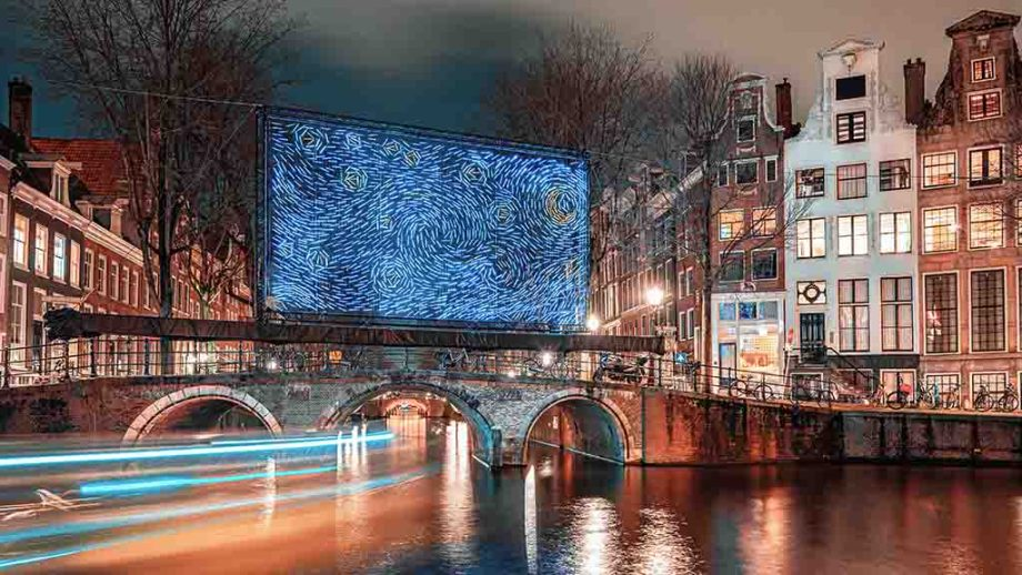 Amsterdam Light Festival at night