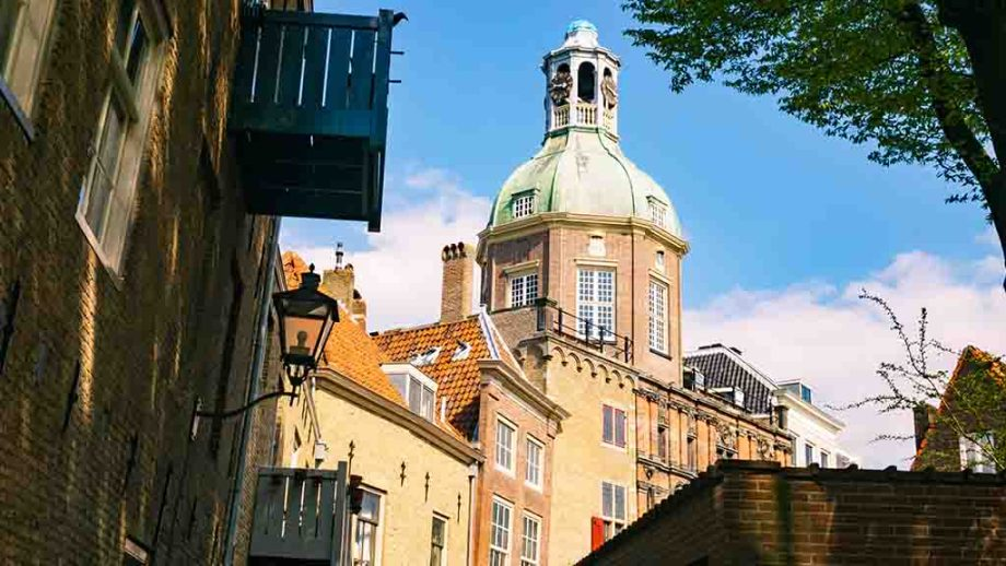 a view on the old water and city gate in Dordrecht, The Netherlands