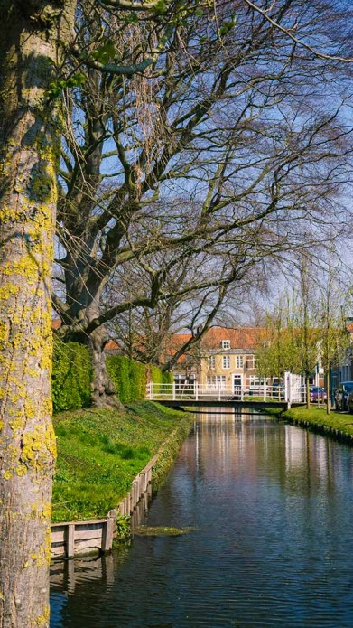 Canals and waterways with old historic Dutch buildings in the distance in the city of Willemstad (Noord/ North- Brabant), The Netherlands