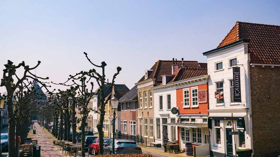 City centre with old Dutch houses and trees in Willemstad (Noord/ North- Brabant), The Netherlands
