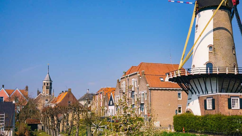 The windmill and beautiful city scape view on the town of Willemstad (Noord/ North- Brabant), The Netherlands