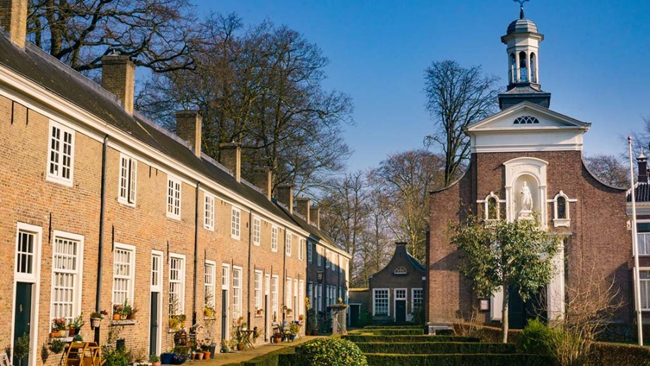 The courtyard in the city of Breda in Noord (North)- Brabant is one of the biggest in The Netherlands and filled with branches and trees. It's one of the must sees and things to do in Breda.