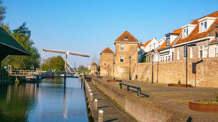 A view on the fortifications and canal in Leerdam, The Netherlands, during a sunny day