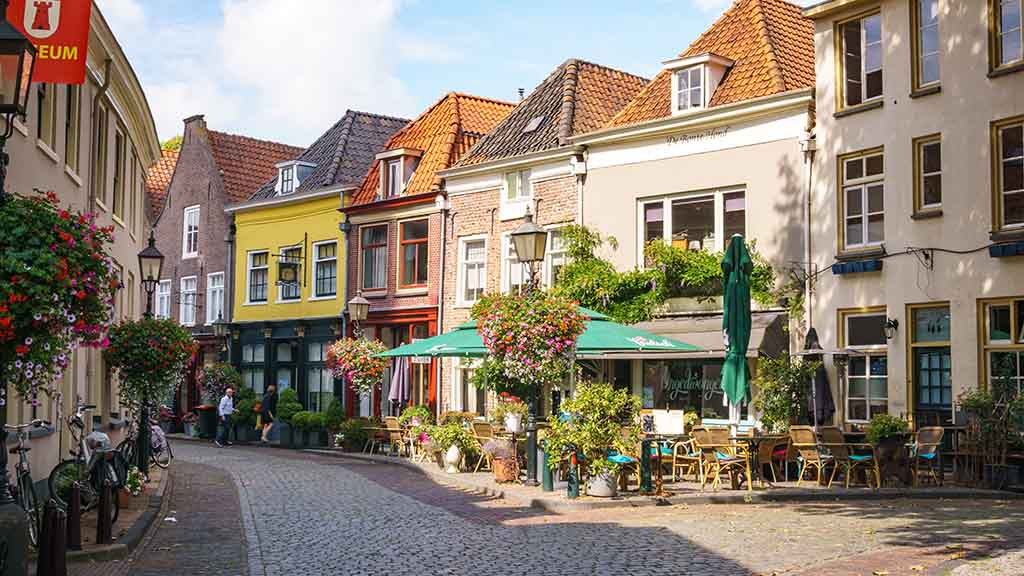 view on cosy cobblestoned streets and old buildings in city of Doesburg, Gelderland, The Netherlands