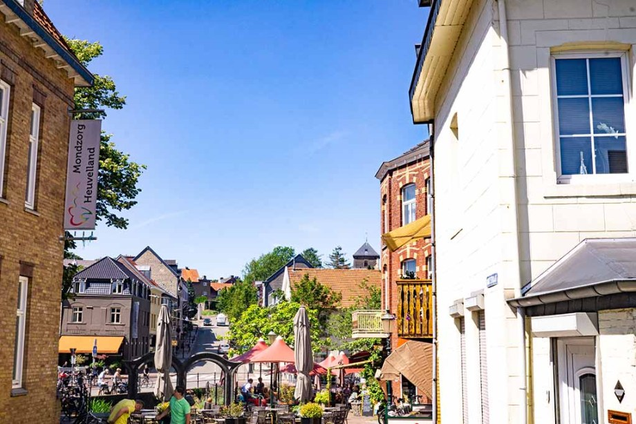 View on cafes and restaurants on the streets in Gulpen, The Netherlands