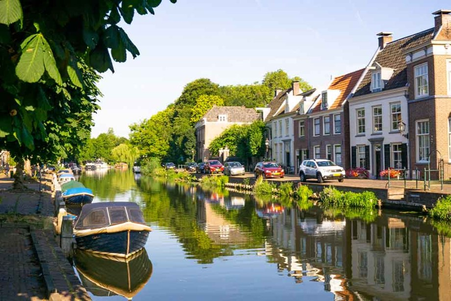 View on the canal and old Dutch canal houses in the town of Maarssen, The Netherlands