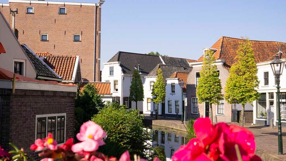 View on a canal and old Dutch brick buildings during summer in the village of Maasland