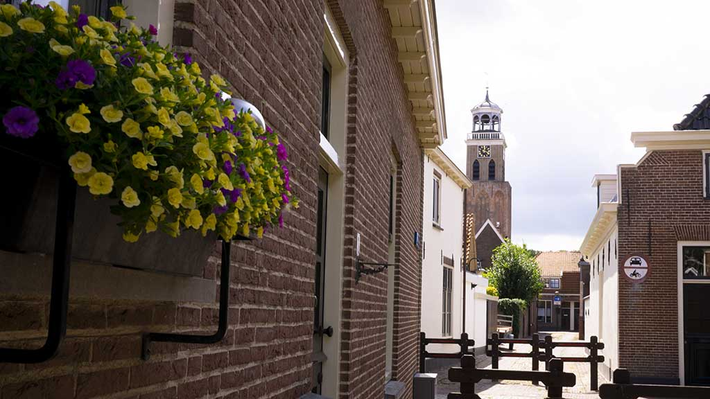 View on the main church in the village of Vollenhove, The Netherlands