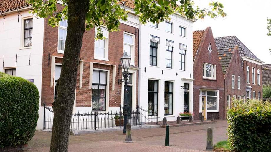 View on historic Dutch buildings in the town of Bad Nieuweschans, Groningen, The Netherlands