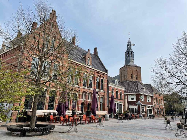 Empty terrace in Groenlo during spring in The Netherlands
