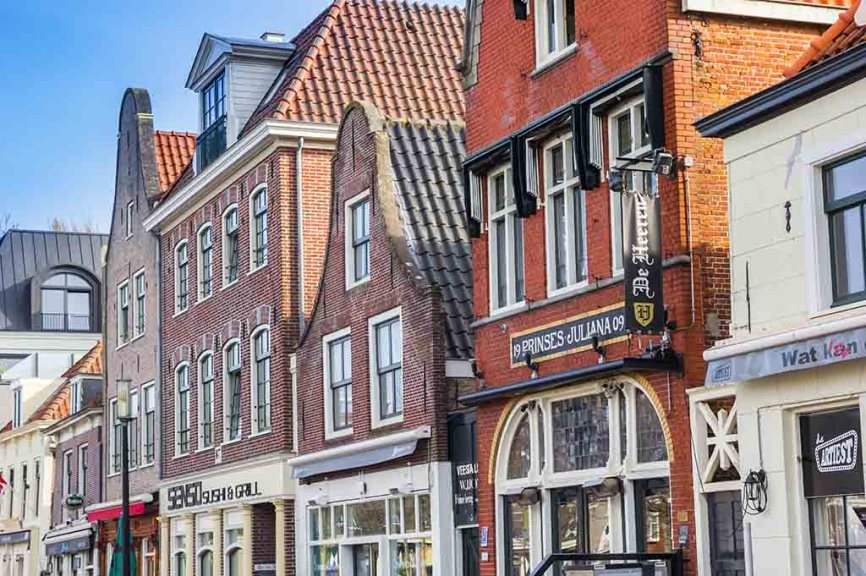 Red brick facades of bars and cafes in Purmerend, Netherlands