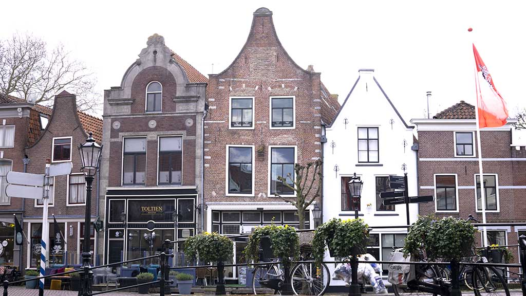 view on dutch canal houses in the town of Schoonhoven, The Netherlands