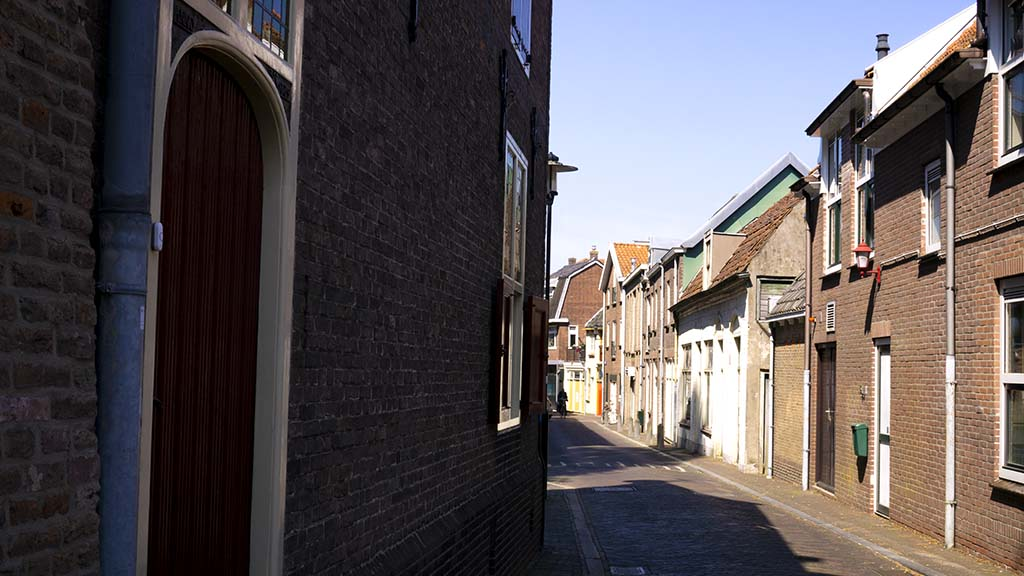 View on an old street in the city of Woerden