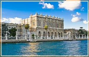 Dolmabahce Palace Museum in ornate Ottoman sultan's palace