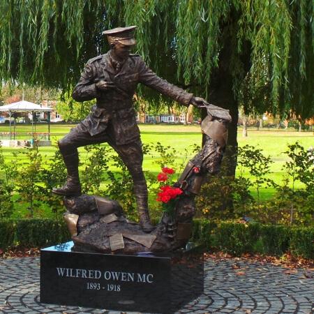 Wilfred Owen Statue Cae Glas Park Oswestry