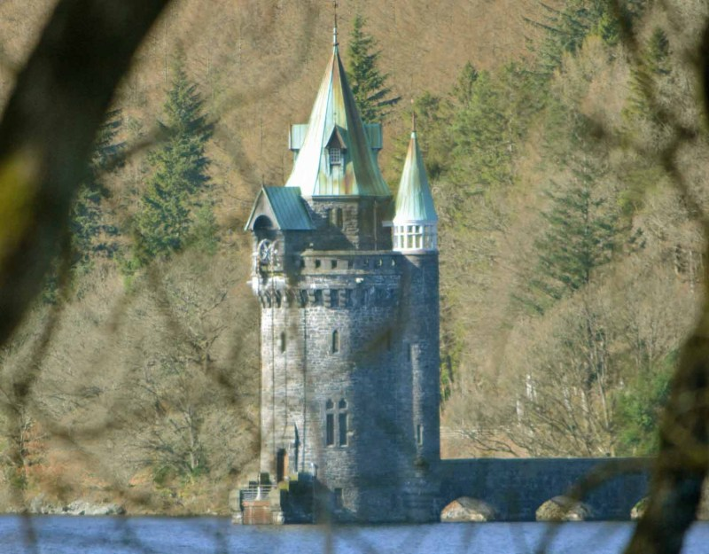Water tower at Lake Vyrnwy through trees