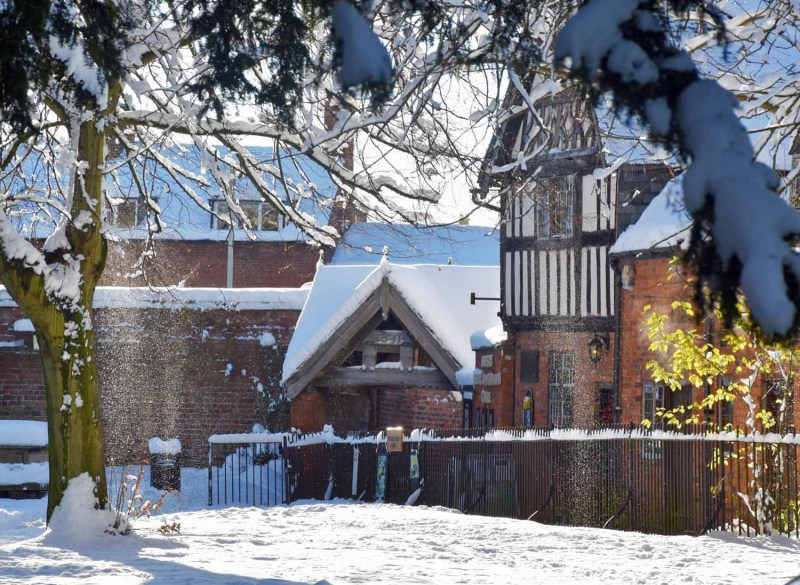 The Griddle Gate Old Oswestry Grammar School in the Snow