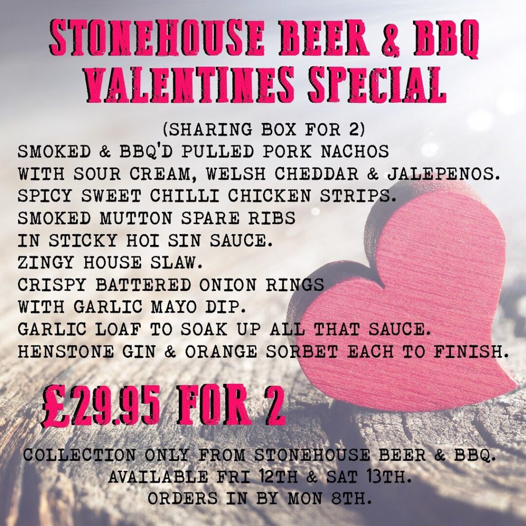 Stonehouse Brewery Valentines Menu Oswestry Food and Drink