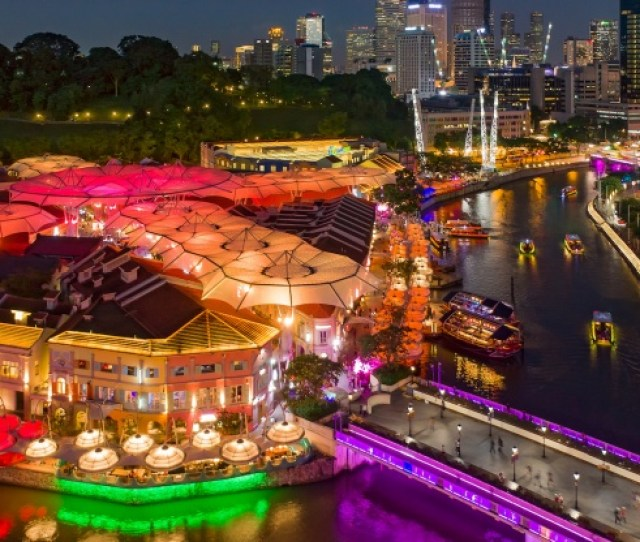 Aerial View Of Clarke Quay At Night