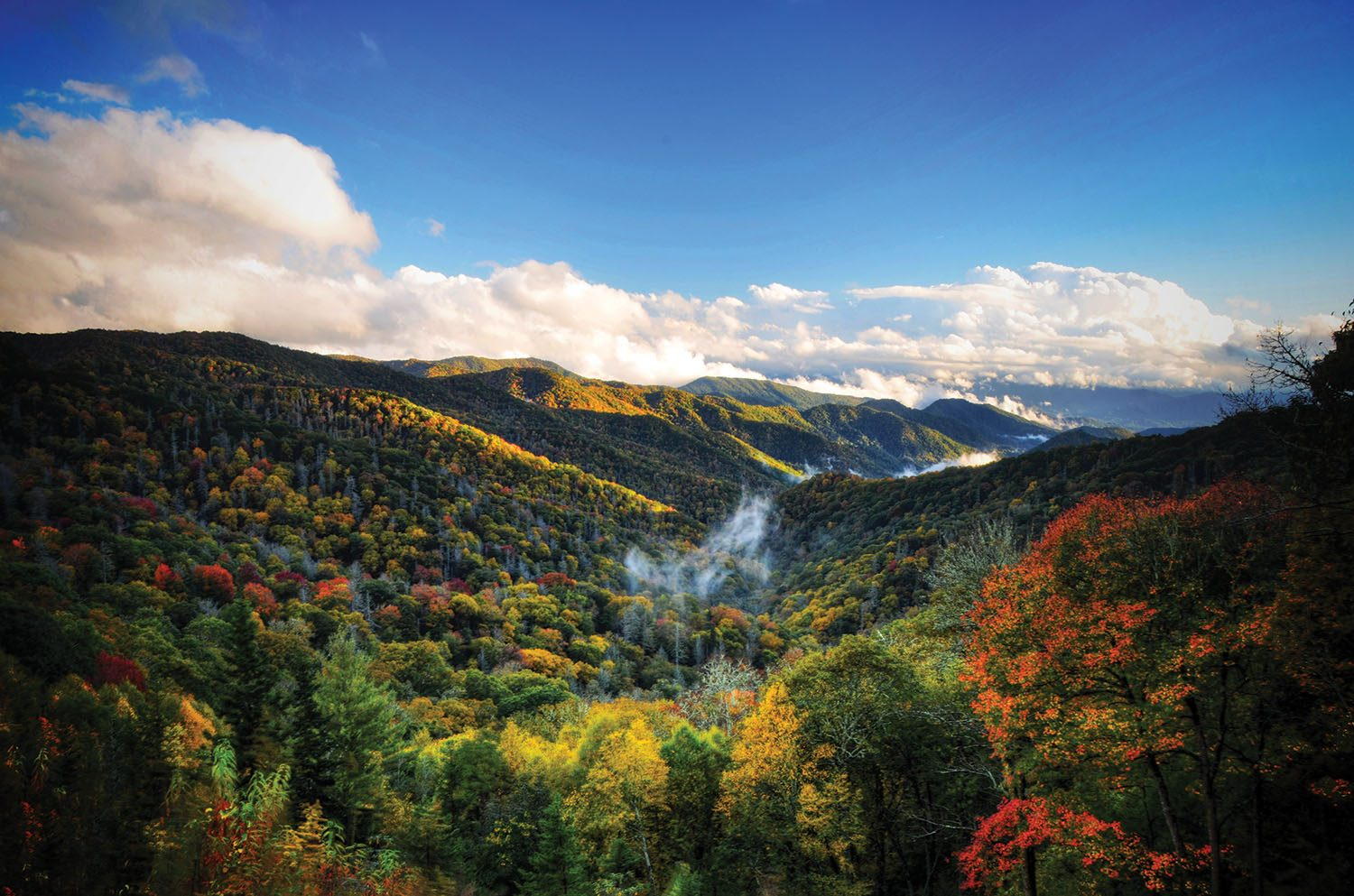 Fall Smoky Mountains Wallpaper Scenic Drives Waterfalls Forest Heritage Whitewater