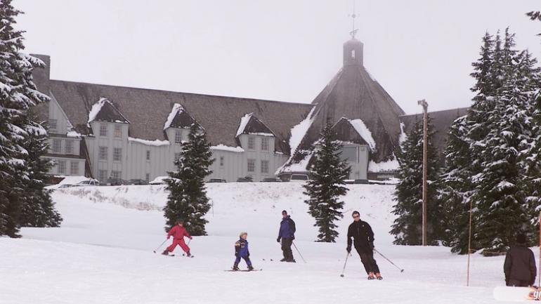 Timberline Lodge, offering access to the only ski area in North America that is open year-round