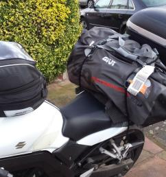 honda s goldwing has a luggage capacity of about 150 litres my sv650 has 153 with this 80 litre roll bag bag added to my top box and tank bag  [ 1200 x 800 Pixel ]